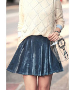 Misty Blue Velvet Full Skirt. Greyish Blue Wint... - $39.90