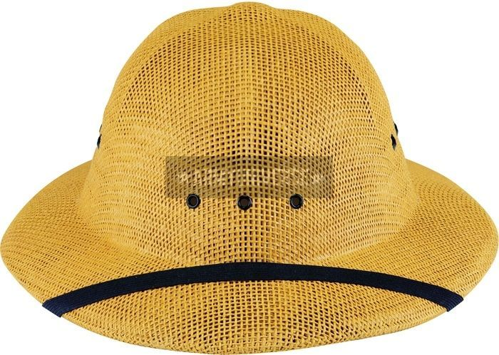 Khaki Hard Straw Lightweight Summer Safari Pith Helmet
