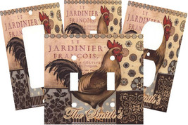 PERSONALIZED COUNTRY FOLK ART ROOSTER LIGHT SWITCH PLATE COVER - $9.25+