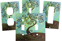 CHOCOLATE BROWN TREE SWIRL GREEN BLUE YELLOW ART SWITCH PLATE COVER HOME... - $9.25+