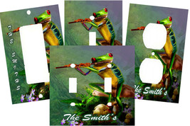 MAGICAL FLUTE PLAYING TREE FROG ON MUSHROOM LIGHT SWITCH PLATE COVER - $9.00+
