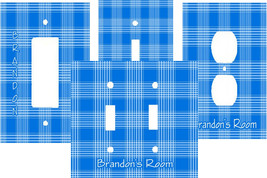 PERSONALIZED BLUE & WHITE PLAID PATTERN PRINT LIGHT SWITCH PLATE COVER - $9.25+