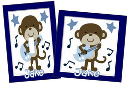 PERSONALIZED MONKEY ROCKSTAR MUSIC GUITAR NURSERY LIGHT SWITCH PLATE COVER - $9.50+