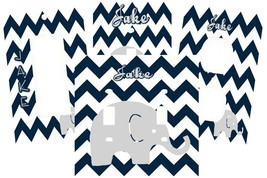PERSONALIZED BABY ELEPHANT NAVY BLUE GRAY CHEVRON SWITCH PLATE COVER NURSEY - $9.25+