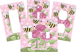 PERSONALIZED BUSY BEES POLKA DOT ROSES BUMBLE BEE SWITCH PLATE COVER HOM... - $9.25+