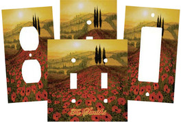 PERSONALIZED ITALIAN TUSCAN POPPY FIELDS LIGHT SWITCH PLATE COVER - $9.25+