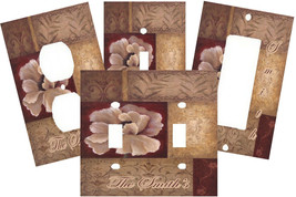 PERSONALIZED POPPY PATCHWORK ART FLORAL FLOWER LIGHT SWITCH PLATE COVER - $9.25+