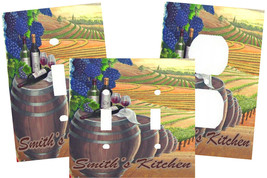 PERSONALIZED TUSCAN VINEYARD WINE BARREL LIGHT SWITCH PLATE COVER - $9.25+