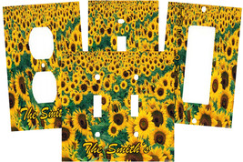 PERSONALIZED SUNFLOWER FIELD ART SUN FLOWERS LIGHT SWITCH PLATE COVER - $9.25+