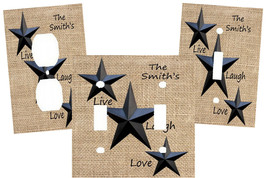 PERSONALIZED PRIMITIVE BLACK BARN STAR BURLAP LOOK LIVE LAUGH LOVE SWITC... - $9.25+