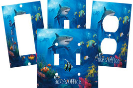 PERSONALIZED SHARK TROPICAL CORAL REEF CLOWN FISH SWITCH PLATE COVER HOM... - £5.17 GBP+