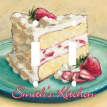 PERSONALIZED SLICE OF STRAWBERRY CAKE KITCHEN LIGHT SWITCH PLATE COVER - $7.75