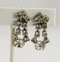 ANTIQUE Jewelry ART DECO ICE RHINESTONE HAND SET DANGLE SCREW BACK EARRINGS - $25.00