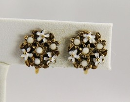 VINTAGE VICTORIAN ANTIQUE Jewelry SWEET ENAMEL FLOWER CLUSTER CLIP EARRINGS - $20.00