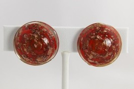 ART DECO Jewelry RED AVENTURINE Art Glass VENETIAN MURANO Sommerso EARRINGS - $45.00