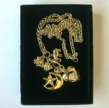 Vintage Joan Rivers Necklace Heart Moon Pocket Watch and Charms NEVER WORN - $84.10