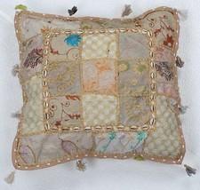 Vintage Patchwork Cotton Decor Pillow Beige Emb... - $18.37