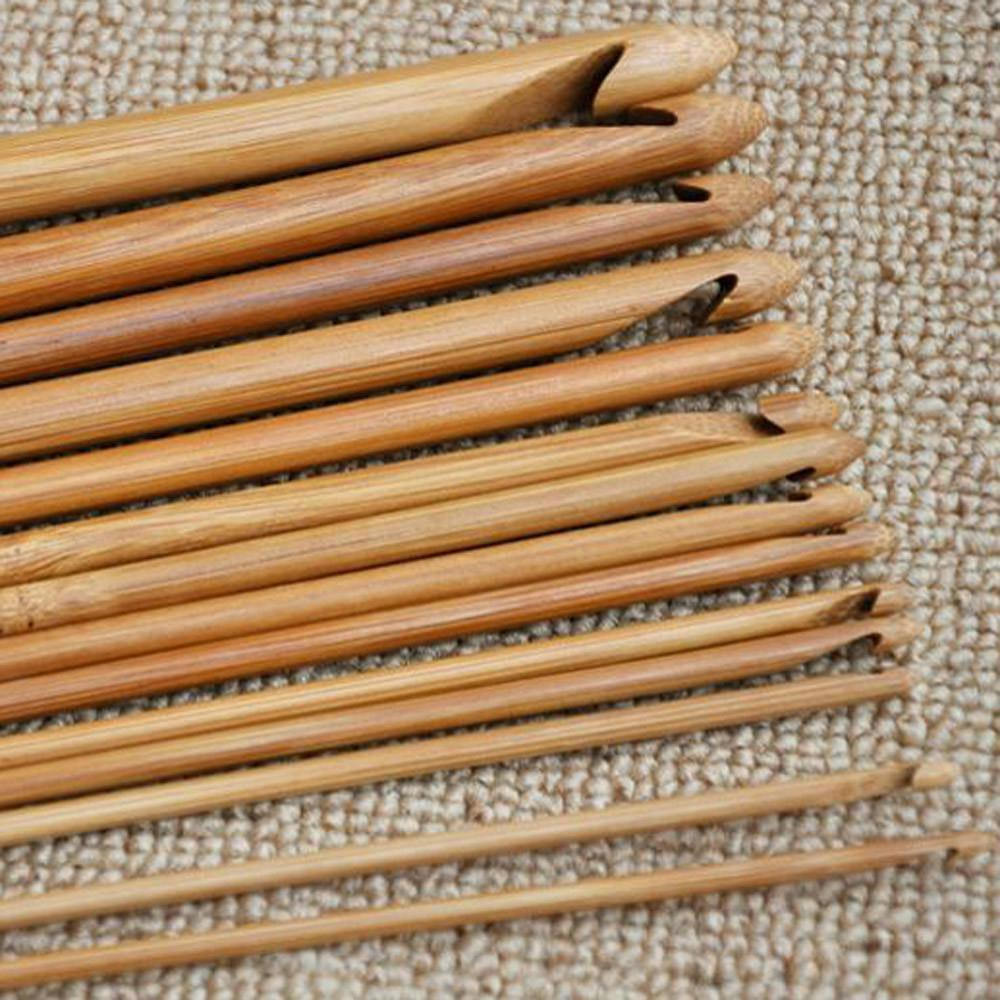 12 Bamboo Crochet Hooks, from 3.0 mm to 10.0 mm