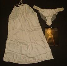 Nwt Victoria's Secret M,L Slip+Panty Beaded Ivory Coconut White 100% Silk Bridal - $98.99