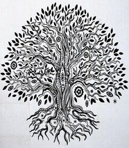 Queen Indian Tree Of Life  Mandala Tapestry Cotton Decor Ethnic White Be... - $22.61