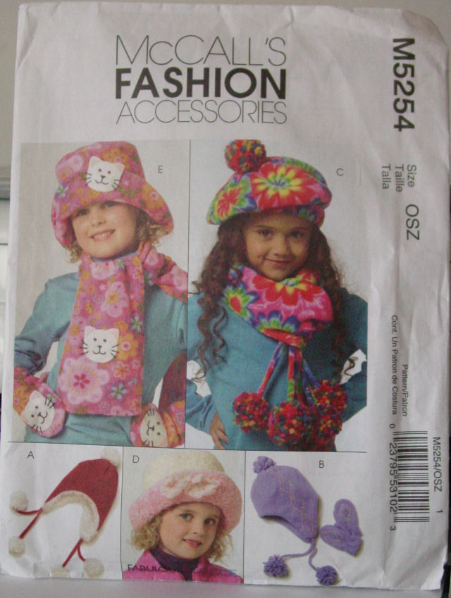 Primary image for Pattern 5254 Little Girls Hat Scarves and Mittens
