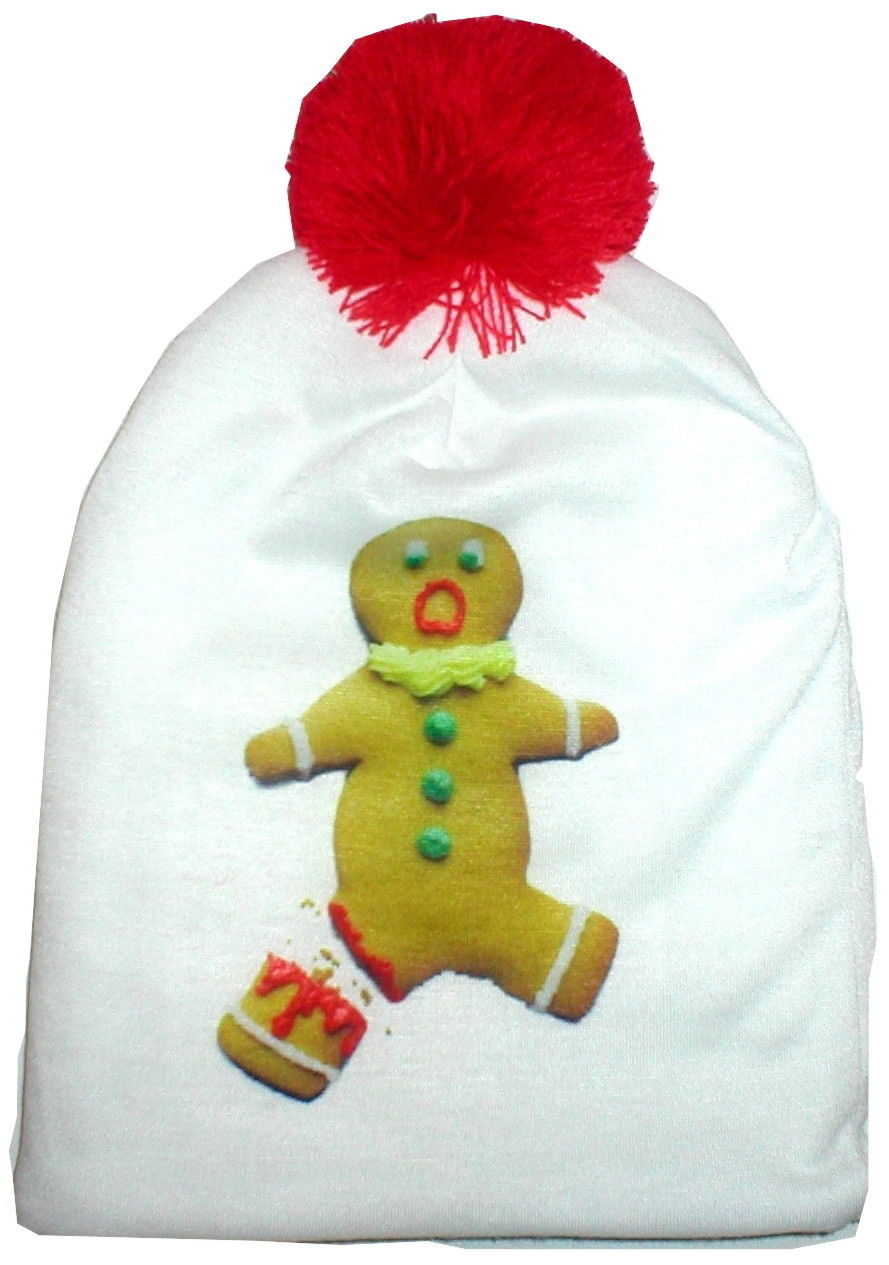 SCARED GINGERBREAD MAN WINTER HAT BEANIE FUN ACCESSORY TO UGLY CHRISTMAS SWEATER