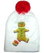 SCARED GINGERBREAD MAN WINTER HAT BEANIE FUN ACCESSORY TO UGLY CHRISTMAS... - £17.80 GBP