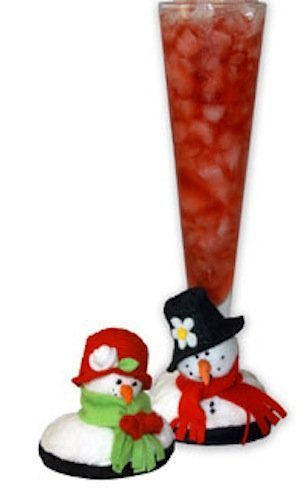 Holiday Snowman Coaster Plush Slipper for Your Stemware