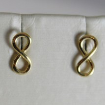 18K YELLOW GOLD EARRINGS WITH MINI INFINITY SYMBOL, INFINITE, MADE IN ITALY