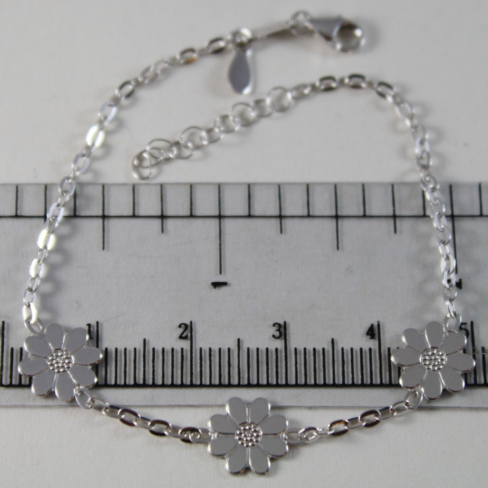 18K WHITE GOLD BRACELET LITTLE DAISY FLOWER 9 MM, 7.10 INCHES MADE IN ITALY
