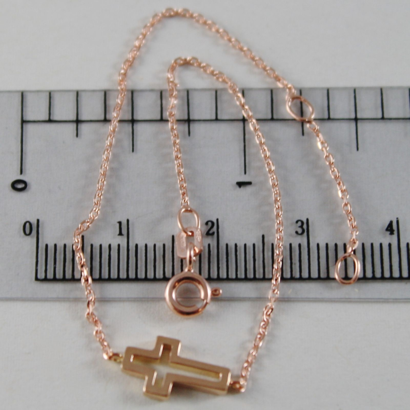 18K ROSE GOLD THIN 1 MM BRACELET 7.10 INCHES, WITH MINI CROSS, MADE IN ITALY