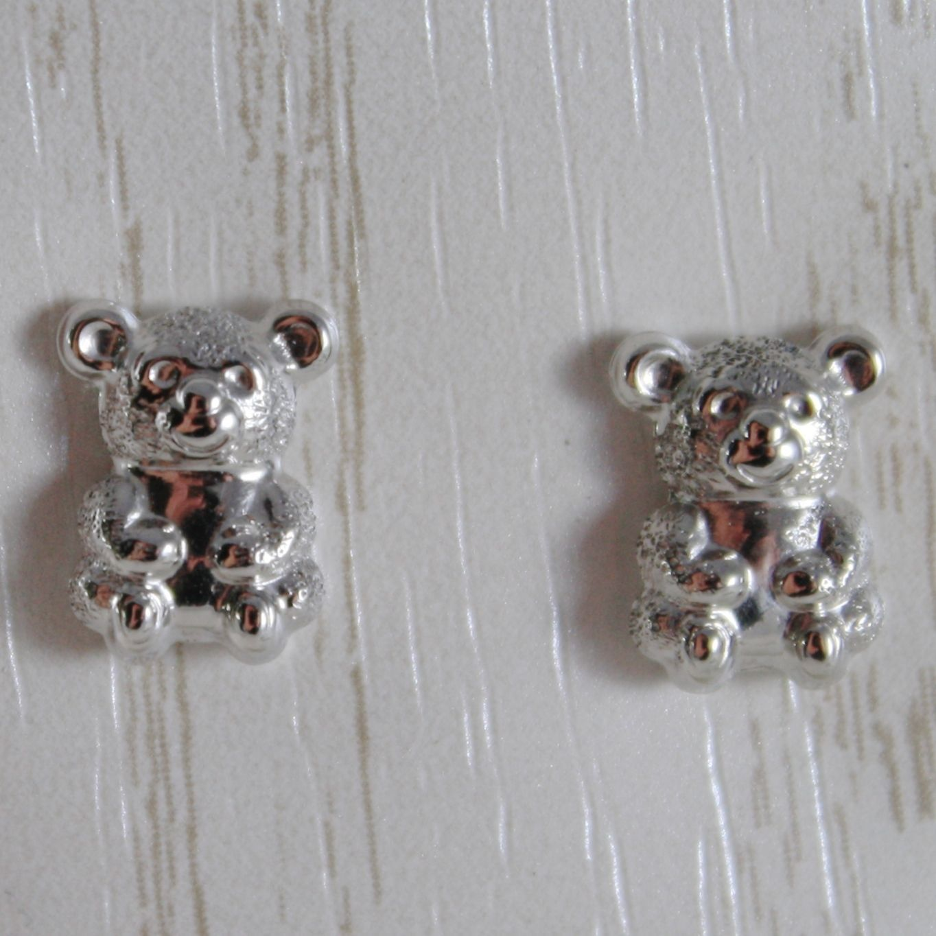 18K WHITE GOLD EARRINGS WITH MINI SATIN BEAR BEARS FOR KIDS CHILD, MADE IN ITALY