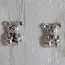 18K WHITE GOLD EARRINGS WITH MINI SATIN BEAR BEARS FOR KIDS CHILD, MADE IN ITALY image 1