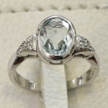 18K WHITE GOLD 750 RING WITH AQUAMARINE AND DIAMONDS, MADE IN ITALY