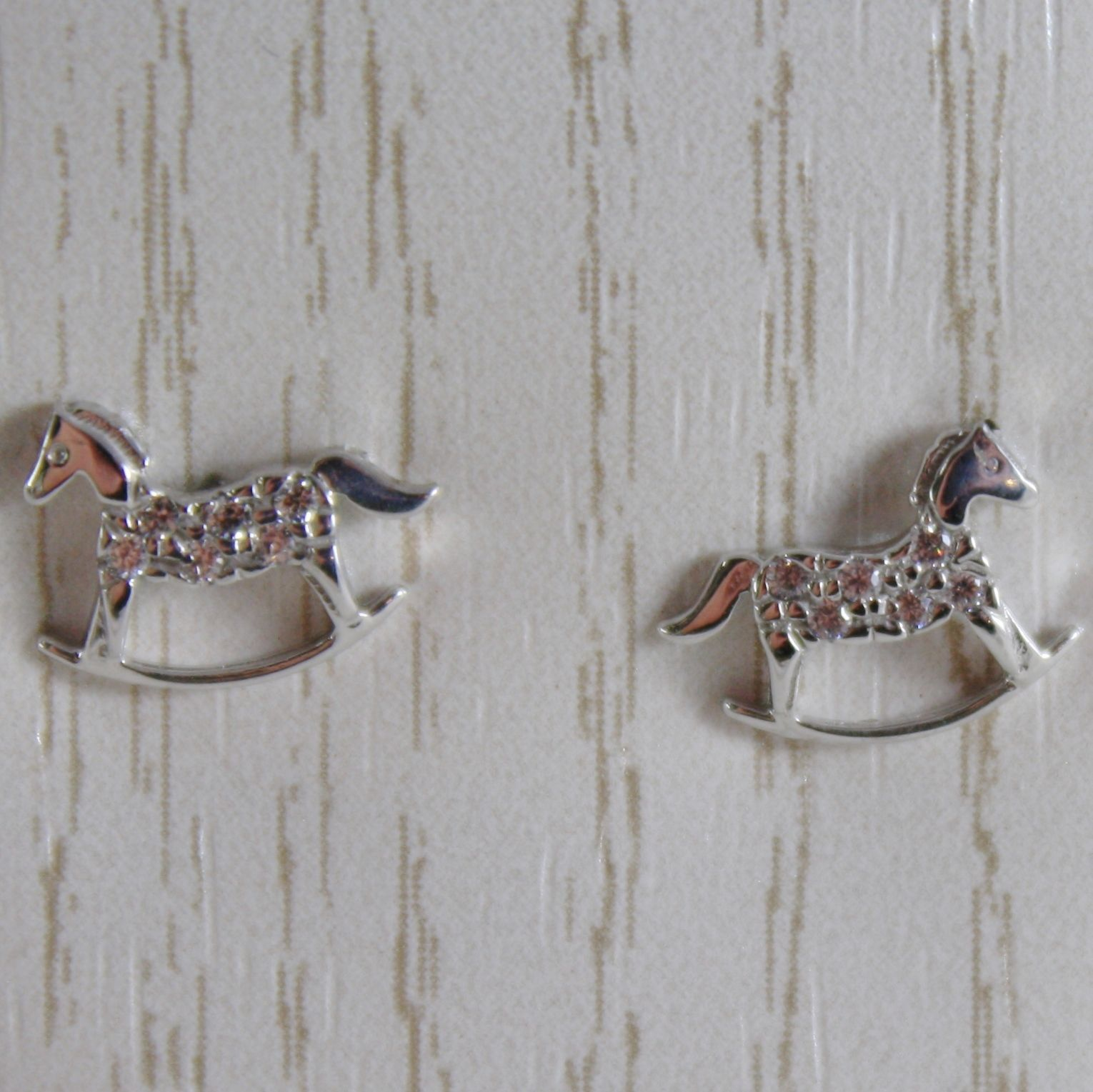 18K WHITE GOLD EARRINGS MINI ROCKING HORSE ZIRCONIA FOR KIDS CHILD MADE IN ITALY