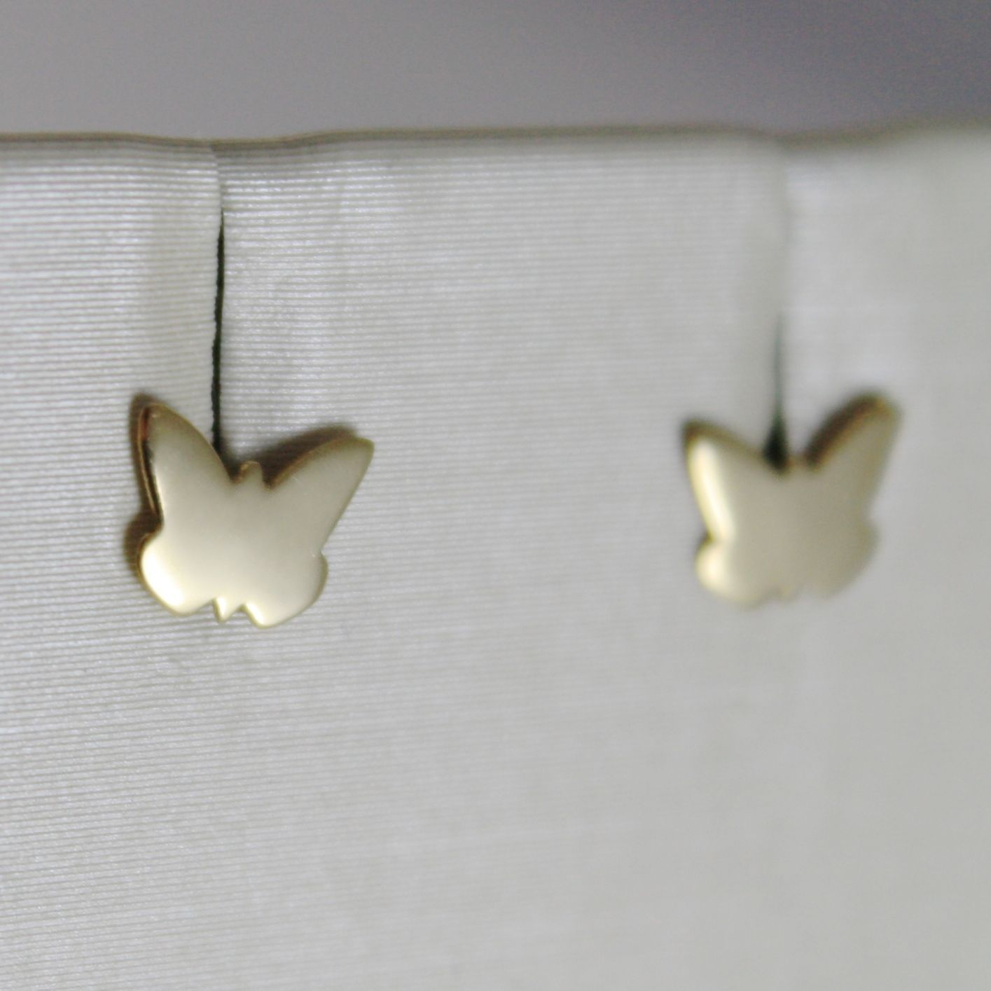 18K YELLOW GOLD EARRINGS WITH MINI FLAT BUTTERFLY, FOR KIDS CHILD, MADE IN ITALY
