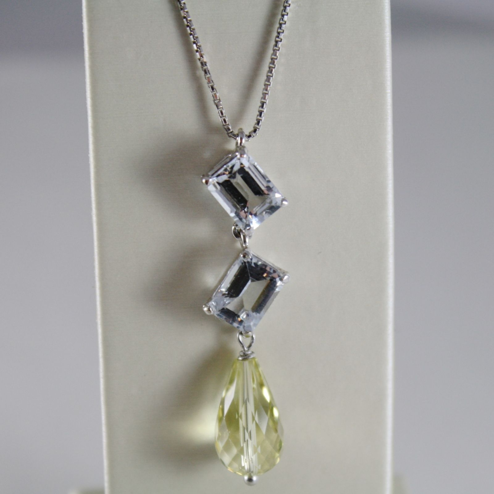 18K WHITE GOLD CHAIN NECKLACE WITH DROP LEMON QUARTZ & AQUAMARINE MADE IN ITALY