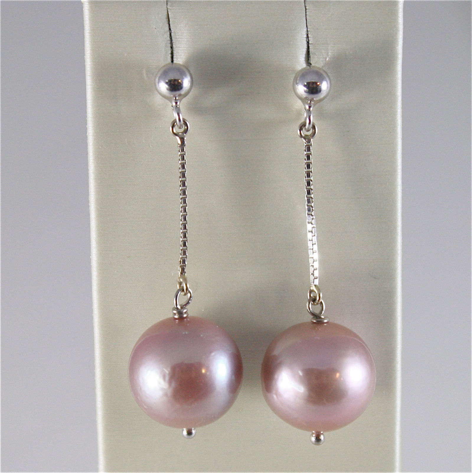 18K WHITE GOLD EARRINGS WITH PURPLE ROUND FRESHWATER PEARLS 13 MM MADE IN ITALY