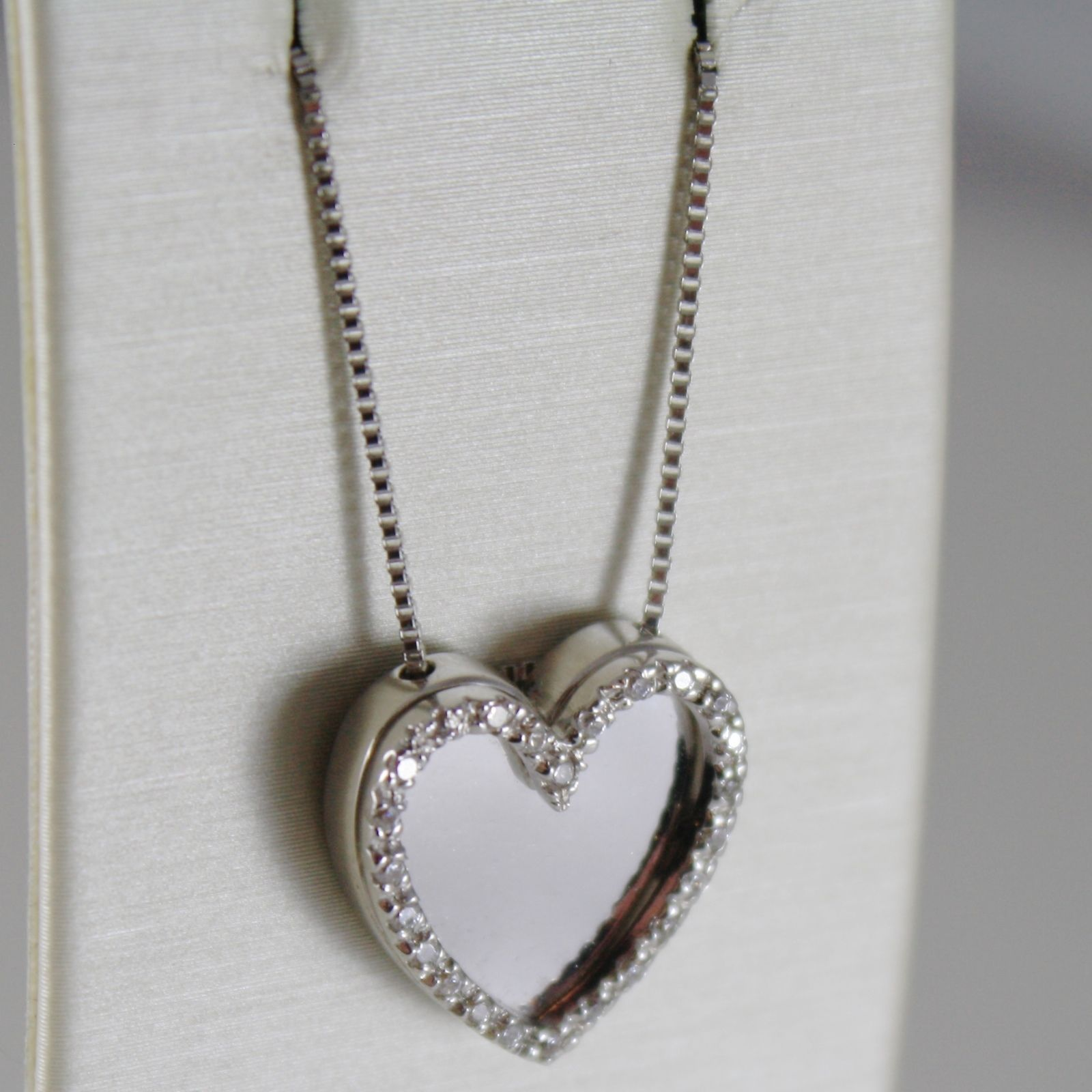 18K WHITE GOLD CHAIN NECKLACE, STYLIZED HEART WITH ZIRCONIA, MADE IN ITALY