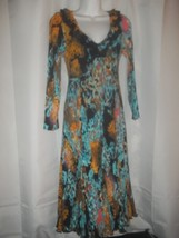 Ladies Size M Pleats Collection By Ping Import Inc V Neck Full Skirt Dre... - $44.54