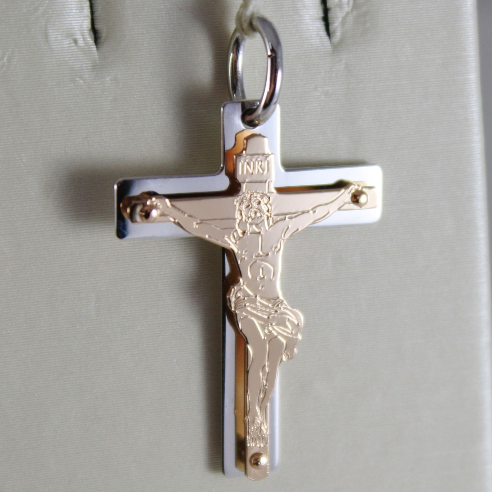 18K ROSE WHITE GOLD CROSS WITH JESUS, SHINY BRIGHT 1.14 INCHES, MADE IN ITALY
