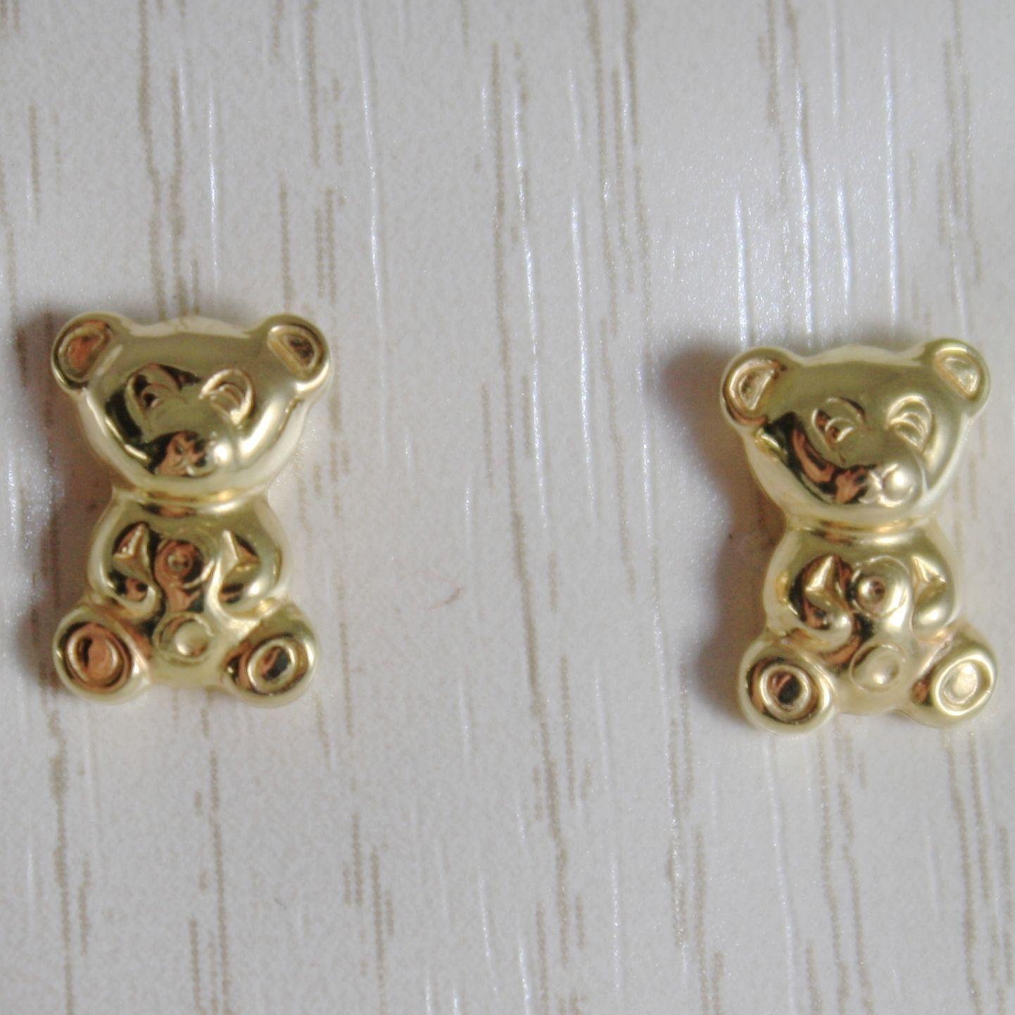 18K YELLOW GOLD EARRINGS MINI BEAR, BEARS POLISHED FOR KIDS CHILD MADE IN ITALY