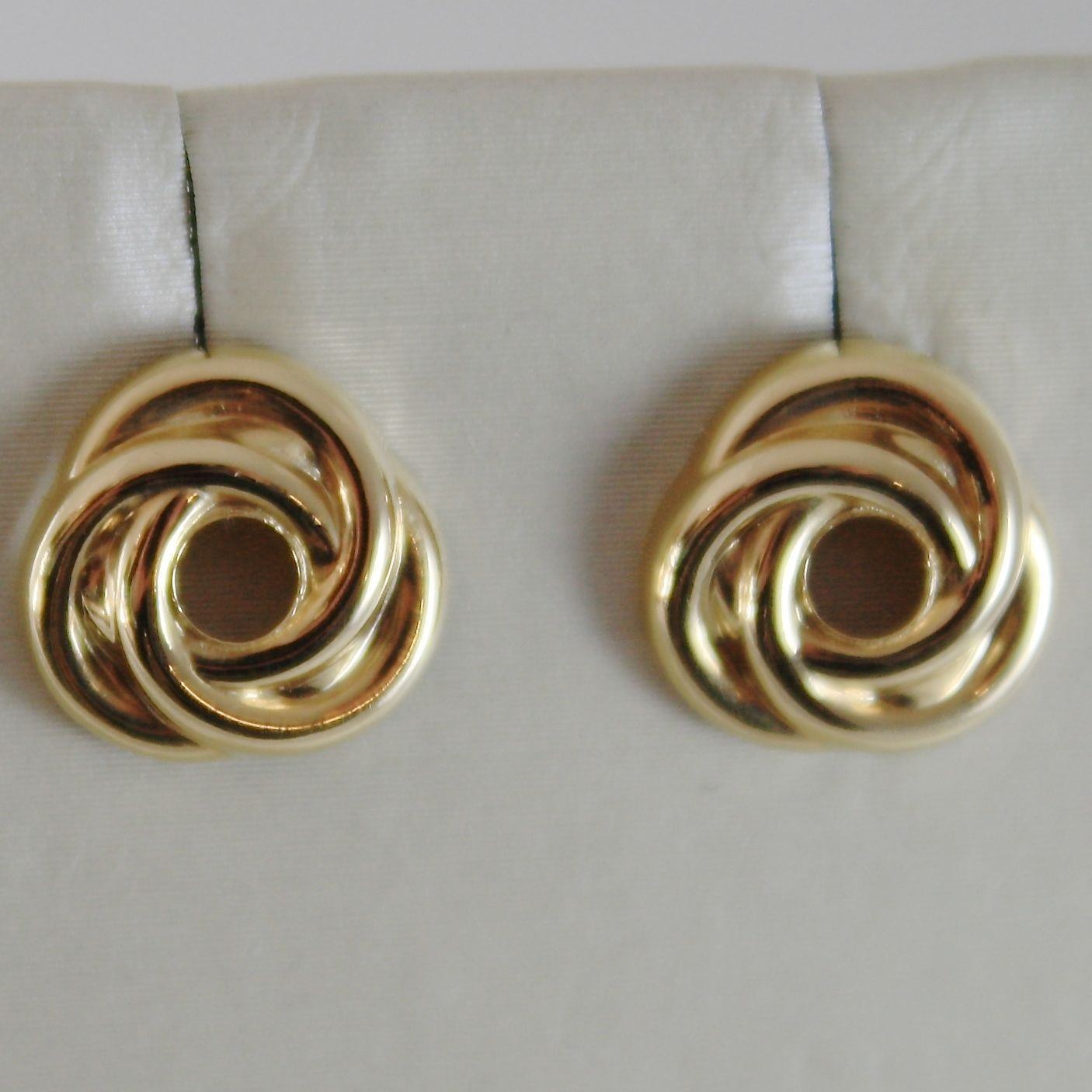 18K YELLOW GOLD BOTTON EARRINGS WITH 3 CROSSED CIRCLES, CIRCLE, MADE IN ITALY