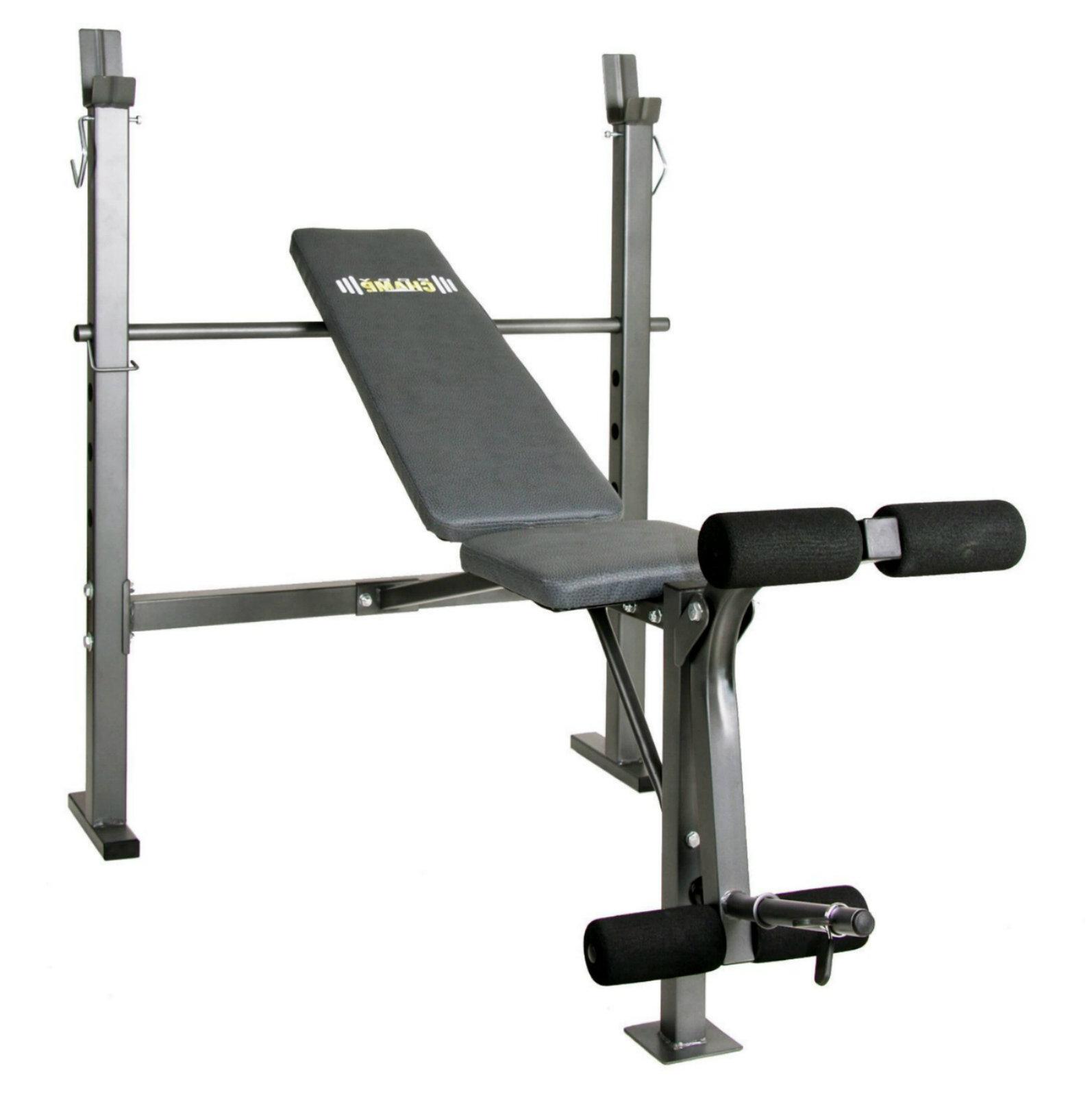 Weight Bench With Leg Developer Body Champ Barbells Set