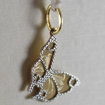 18 K White & Yellow Gold Little Butterfly Pendant Finely Worked, Made In Italy - $69.92