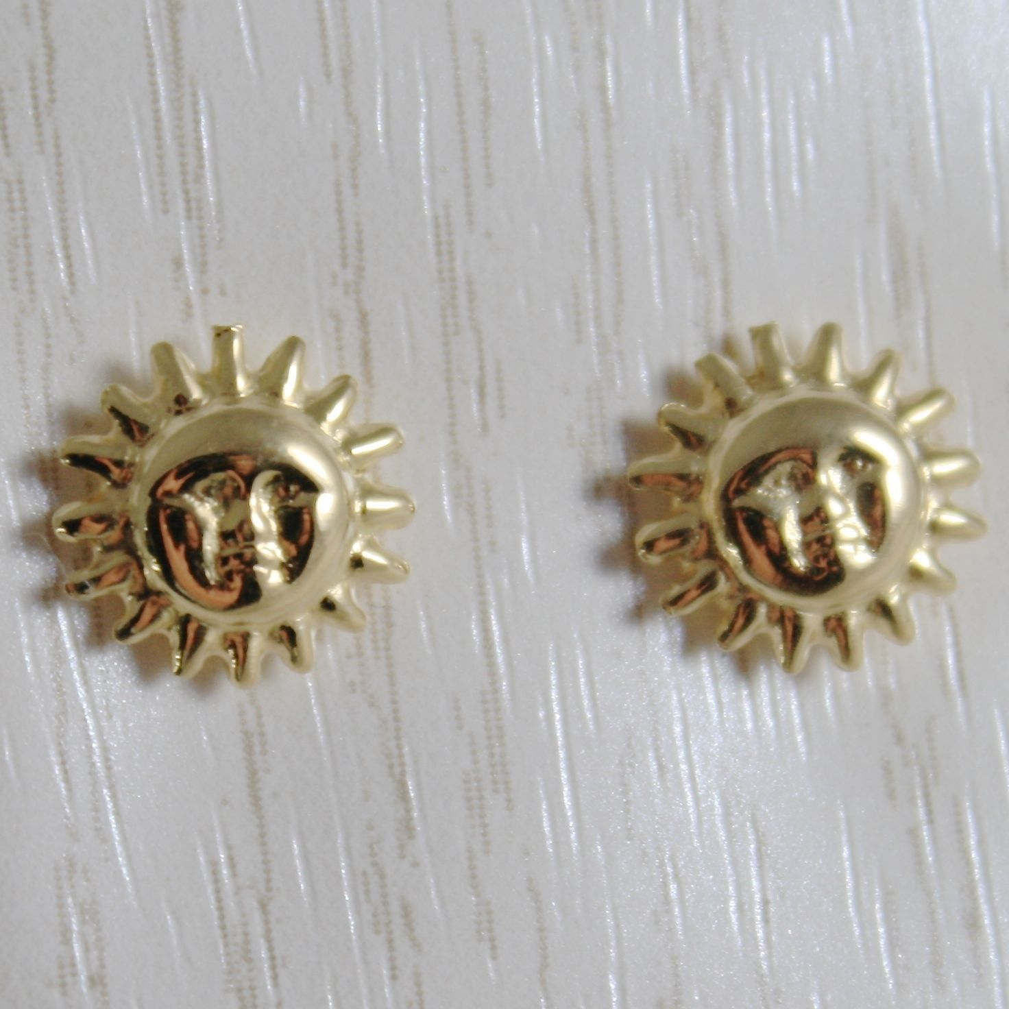 18K YELLOW GOLD EARRINGS MINI SUN BRIGHT & POLISHED FOR KIDS CHILD MADE IN ITALY