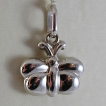 18K WHITE GOLD ROUNDED MINI BUTTERFLY CHARM PENDANT 0.71 INCHES MADE IN ITALY image 1