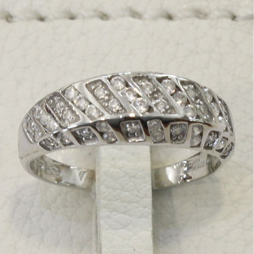 18K WHITE GOLD 750 RING WITH ZIRCON MADE IN ITALY