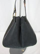 VTG Gucci Black Monogram Bucket Drawstring Shoulder Bag with Leather Trim  - £101.83 GBP