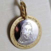18K WHITE YELLOW GOLD MEDAL JESUS CHRIST WITH THE GLORY PRAYER MADE IN ITALY image 1